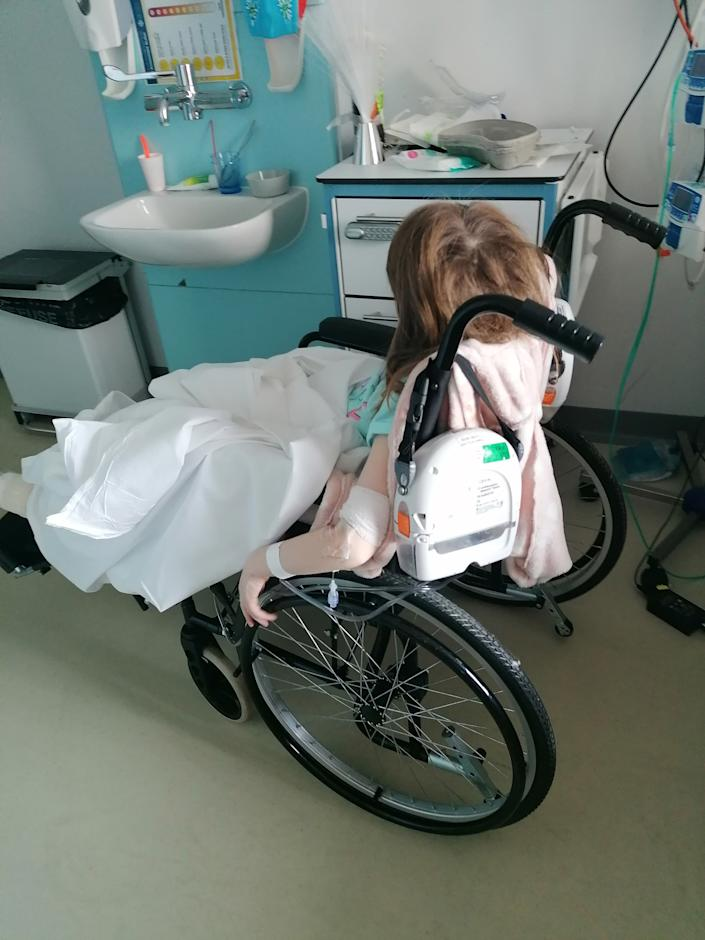 Annabelle will need a wheelchair for a few weeks as it is too painful to walk. (Caters)