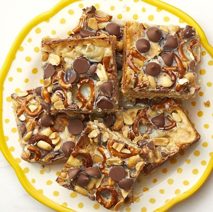 """<p>Anyone who's a fan of sweet and salty flavor combinations will love these cookie squares that have both sweet butterscotch chips and salty pretzels. </p><p><a href=""""https://www.thepioneerwoman.com/food-cooking/recipes/a36078946/butterscotch-pretzel-bars-recipe/"""" rel=""""nofollow noopener"""" target=""""_blank"""" data-ylk=""""slk:Get Ree's recipe."""" class=""""link rapid-noclick-resp""""><strong>Get Ree's recipe.</strong></a></p>"""