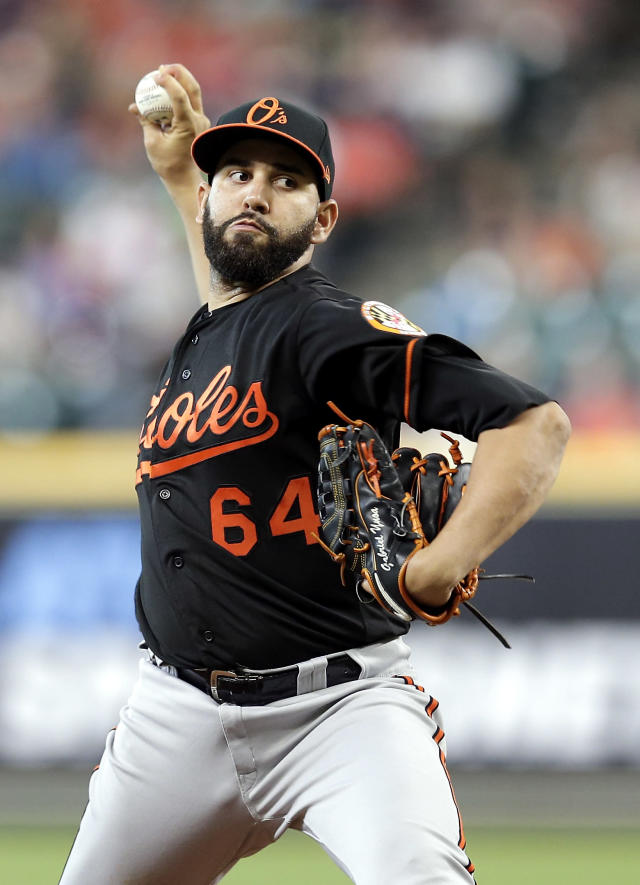 Baltimore Orioles starting pitcher Gabriel Ynoa throws to a Houston Astros batter during the first inning of a baseball game Friday, June 7, 2019, in Houston. (AP Photo/Michael Wyke)