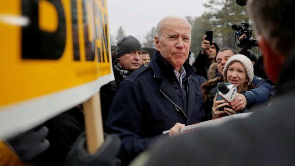 PHOTO: Democratic presidential candidate and former Vice President Joe Biden visits a polling station on the day of New Hampshire's first-in-the-nation primary in Manchester, N.H., Feb. 11, 2020. (Carlos Barria/Reuters)