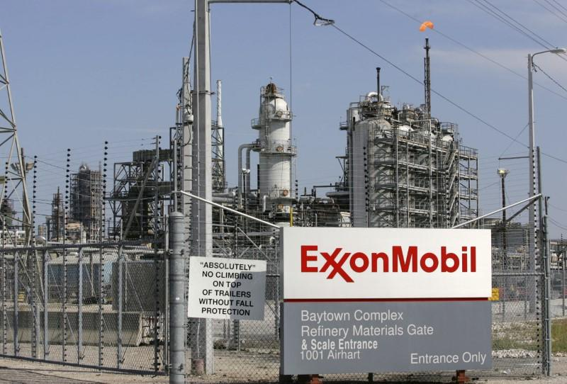 View of the Exxon Mobil refinery in Baytown, Texas