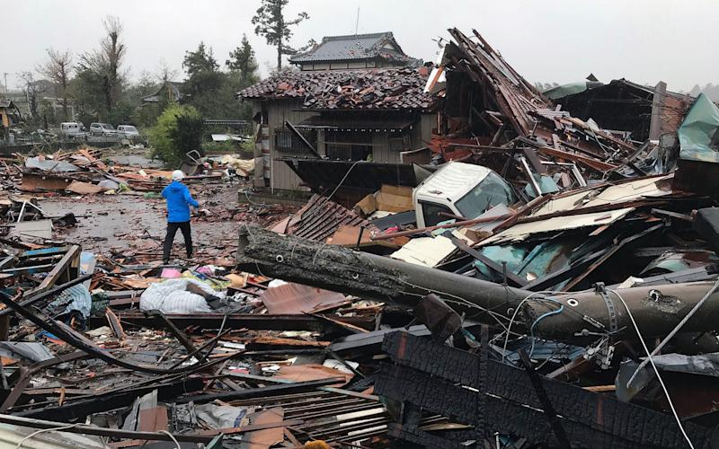 Damaged houses caused by Typhoon Hagibis are seen in Ichihara, Chiba  - AFP