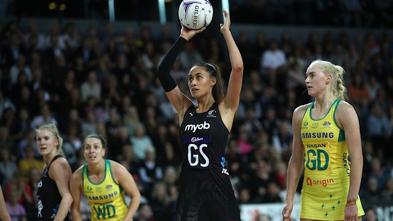 Maria Folau, pictured here shooting during the Constellation Cup match between New Zealand and Australia.