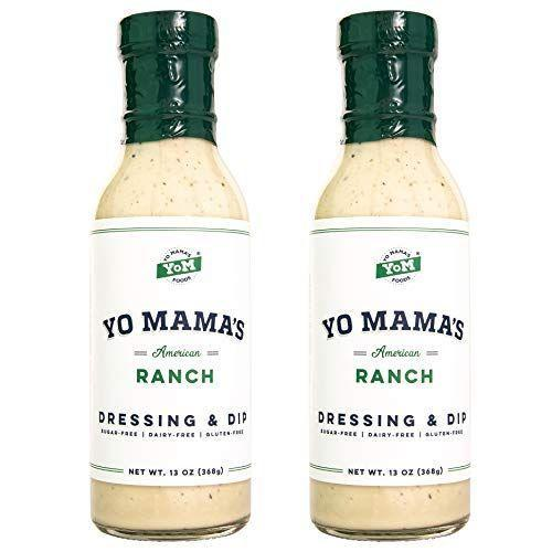 """<p><strong>Yo Mama's Foods</strong></p><p>amazon.com</p><p><strong>$16.98</strong></p><p><a href=""""https://www.amazon.com/dp/B07WGQFP6V?tag=syn-yahoo-20&ascsubtag=%5Bartid%7C2140.g.26932031%5Bsrc%7Cyahoo-us"""" rel=""""nofollow noopener"""" target=""""_blank"""" data-ylk=""""slk:Shop Now"""" class=""""link rapid-noclick-resp"""">Shop Now</a></p><p>Going keto doesn't mean you have to give up your fave. This ranch dressing has only 1 net carb, so go ahead and drizzle it on your salad or use it as a dip for your celery and carrot sticks. </p><p><em>Per 2 tbsp serving: 140 calories, 16 g fat (1g saturated), 0g carbs, 0g sugar, 180 mg sodium, 0g fiber, 0g protein </em></p>"""