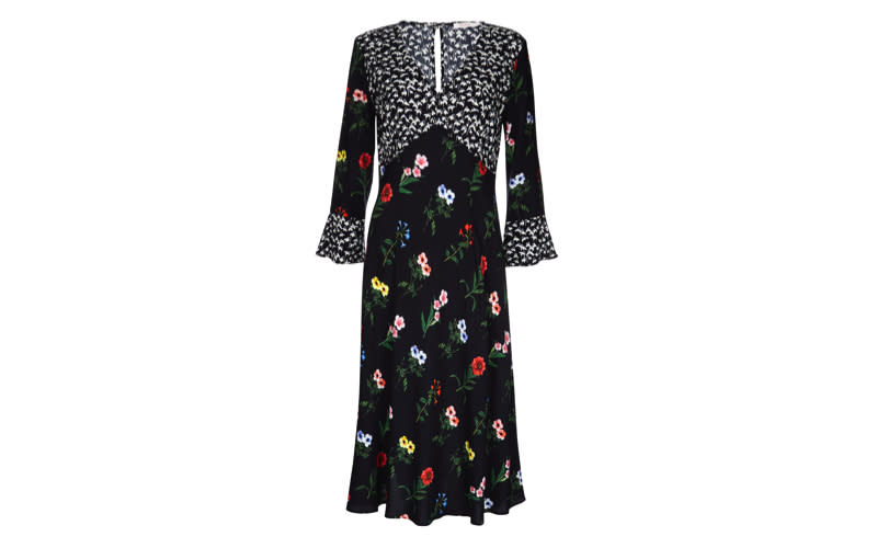 """This season, it's all about clashing prints and nobody does it better than Finery. The 'Elodie' dress features pretty pansies and ditsy bluebell motifs, the perfect way to ring in summer. <a href=""""https://www.finerylondon.com/uk/products/elodie-mixed-print-dress"""" rel=""""nofollow noopener"""" target=""""_blank"""" data-ylk=""""slk:Shop now"""" class=""""link rapid-noclick-resp""""><em>Shop now</em></a>."""