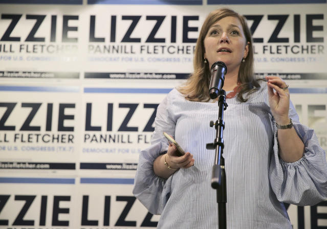 Lizzie Fletcher giving her acceptance speech in Houston Tuesday night. (Photo: Elizabeth Conley/Houston Chronicle/AP)