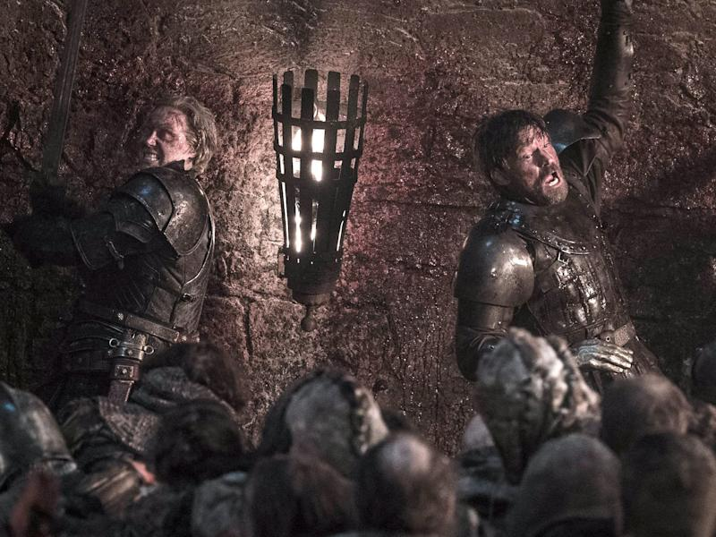Jaime and Brienne fighting Battle of Winterfell Game of Thrones season 8 episode 3 Helen Sloan HBO