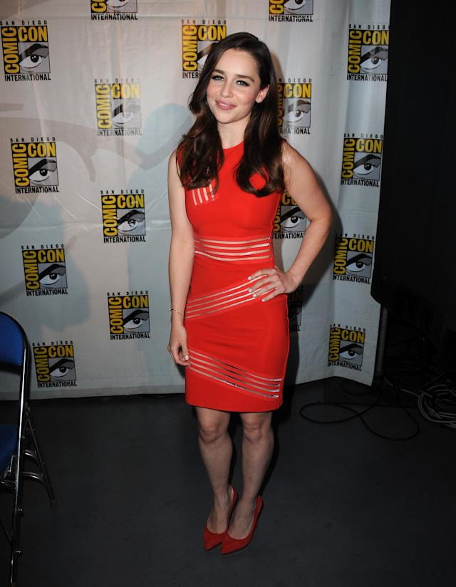 "Emilia Clarke attends the ""Game of Thrones"" panel at Comic-Con International 2013 at San Diego Convention Center on July 19, 2013 in San Diego, California.o"
