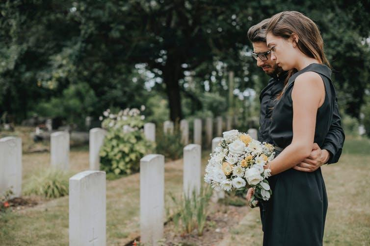 "<span class=""caption"">Family only funerals will make grieving hard.</span> <span class=""attribution""><a class=""link rapid-noclick-resp"" href=""https://www.shutterstock.com/image-photo/people-mourning-concept-woman-white-lily-664197991"" rel=""nofollow noopener"" target=""_blank"" data-ylk=""slk:Shutterstock"">Shutterstock</a></span>"