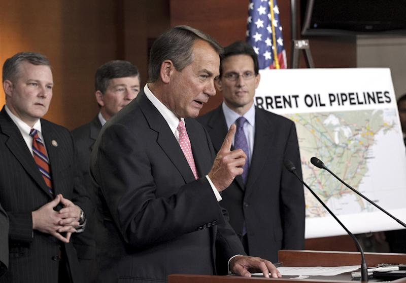 House Speaker John Boehner of Ohio, second from right, accompanied by fellow Republican leaders, gestures during a news conference on Capitol Hill in Washington, Wednesday, Jan. 18, 2012, to voice their opposition to President Barack Obama's decision to reject the Keystone XL pipeline. From left are, Rep. Tim Griffin, R-Ark.; Rep. Jeb Hensarling, R-Texas; Boehner; and House Majority Leader Eric Cantor of Va.   (AP Photo/J. Scott Applewhite)