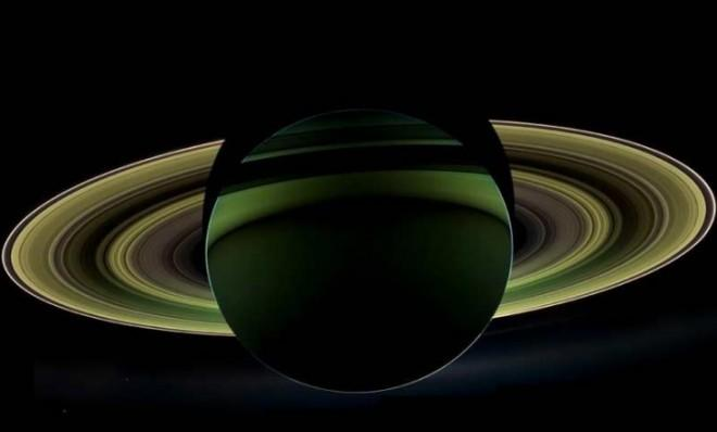 NASA's Cassini spacecraft snapped this photo of Saturn while it was in the planet's shadow.