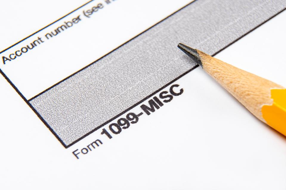 Tax Form 1099-misc on a white background.