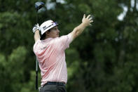 Joel Dahmen reacts to his tee shot on the ninth hole during the second round of the World Golf Championship-FedEx St. Jude Invitational Friday, July 31, 2020, in Memphis, Tenn. (AP Photo/Mark Humphrey)