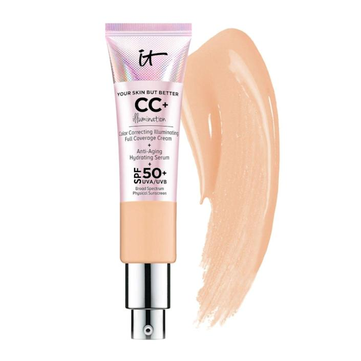 """<p><strong>It Cosmetics</strong></p><p>ulta.com</p><p><strong>$39.50</strong></p><p><a href=""""https://go.redirectingat.com?id=74968X1596630&url=https%3A%2F%2Fwww.ulta.com%2Fcc-cream-illumination-spf-50%3FproductId%3DxlsImpprod12251079&sref=https%3A%2F%2Fwww.goodhousekeeping.com%2Fbeauty-products%2Fg30611666%2Fbest-cc-cream%2F"""" rel=""""nofollow noopener"""" target=""""_blank"""" data-ylk=""""slk:Shop Now"""" class=""""link rapid-noclick-resp"""">Shop Now</a></p><p>If you're looking to <strong>give your skin some extra glow, try this illuminating CC cream that claims it has light-reflecting pigments to give your skin a boost of radiance.</strong> It has collagen, peptides and Niacin which promise it will help reduce the appearance of wrinkles, promote a more even skin tone and combat the appearance of blemishes and hyperpigmentation. It contains SPF 50+ physical mineral sunscreen and it has over 700 reviews at Sephora. </p><p><strong>Shades:</strong> 12<br><strong>SPF:</strong> 50</p>"""