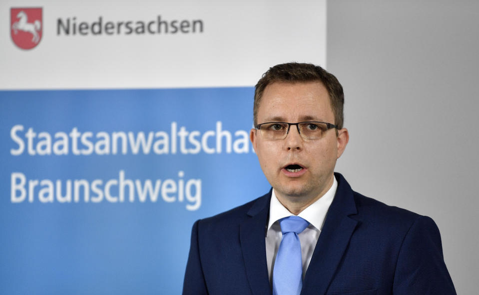 First Prosecutor Hans Christian Wolters addresses the media during a press conference on the Madeleine McCann case at the public prosecutor's office in Braunschweig, Germany, Thursday, June 4, 2020. A German man has been identified as a suspect in the case of a 3-year-old British girl who disappeared 13 years ago while on a family holiday in Portugal. (AP Photo/Martin Meissner)