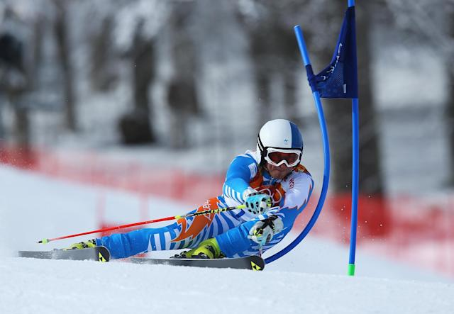 SOCHI, RUSSIA - FEBRUARY 19: Marcus Sandell of Finland in action during the Alpine Skiing Men's Giant Slalom on day 12 of the Sochi 2014 Winter Olympics at Rosa Khutor Alpine Center on February 19, 2014 in Sochi, Russia. (Photo by Doug Pensinger/Getty Images)