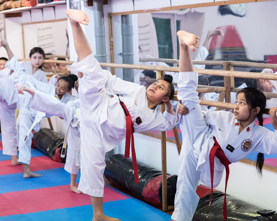 Walkden and long-term boyfriend Aaron Cook are encouraging kids to get down to their local taekwondo club after lockdown