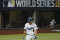 Los Angeles Dodgers' Corey Seager strikes out against the Tampa Bay Rays during the third inning in Game 2 of the baseball World Series Wednesday, Oct. 21, 2020, in Arlington, Texas. (AP Photo/Eric Gay)