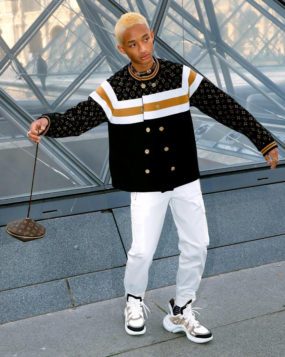 """<h1 class=""""title"""">March 5: Jaden Smith</h1> <div class=""""caption""""> Jaden Smith hits the Louis Vuitton show in Paris carrying an Unidentified Flying Jawn. </div> <cite class=""""credit"""">Bertrand Rindoff Petroff</cite>"""
