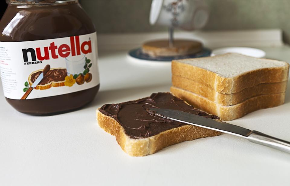 Istanbul, Turkey - February 10, 2012 : Nutella chocolate cream and bread are ready for breakfast on February 10, Istanbul, Turkey.