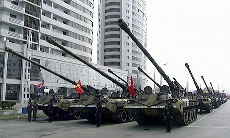 Tanks line up for the parade on Saturday.