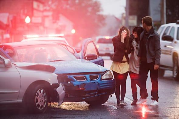 Young people involved in a car crash