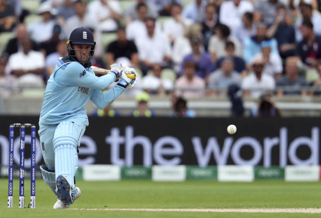 England's batsman Jason Roy plays a shot during the Cricket World Cup semi-final match between Australia and England at Edgbaston in Birmingham, England, Thursday, July 11, 2019. (AP Photo/Rui Vieira)