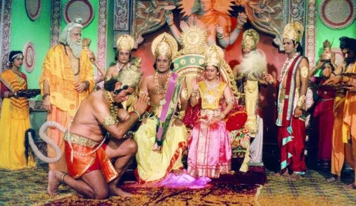 A scene from <i>Ramayana</i>, which first aired on Doordarshan in 1987.
