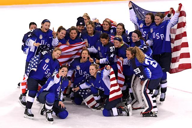 <p>The United States celebrates after defeating Canada in a shootout to win the Women's Gold Medal Game on day thirteen of the PyeongChang 2018 Winter Olympic Games at Gangneung Hockey Centre on February 22, 2018 in Gangneung, South Korea. (Photo by Harry How/Getty Images) </p>