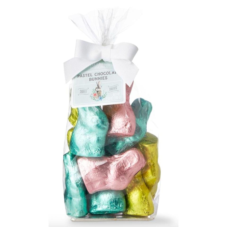 """<p><strong>Williams Sonoma</strong></p><p>williams-sonoma.com</p><p><strong>$14.95</strong></p><p><a href=""""https://go.redirectingat.com?id=74968X1596630&url=https%3A%2F%2Fwww.williams-sonoma.com%2Fproducts%2Fwilliams-sonoma-pastel-foil-chocolate-bunnies&sref=https%3A%2F%2Fwww.thepioneerwoman.com%2Ffood-cooking%2Fg35452335%2Fbest-chocolate-bunnies%2F"""" rel=""""nofollow noopener"""" target=""""_blank"""" data-ylk=""""slk:Shop Now"""" class=""""link rapid-noclick-resp"""">Shop Now</a></p><p>These pretty pastel milk chocolate bunnies would make a great addition to any Easter basket. They could even double as an edible <a href=""""https://www.thepioneerwoman.com/home-lifestyle/crafts-diy/g35323396/easter-decorations/"""" rel=""""nofollow noopener"""" target=""""_blank"""" data-ylk=""""slk:table decoration"""" class=""""link rapid-noclick-resp"""">table decoration</a>! </p>"""