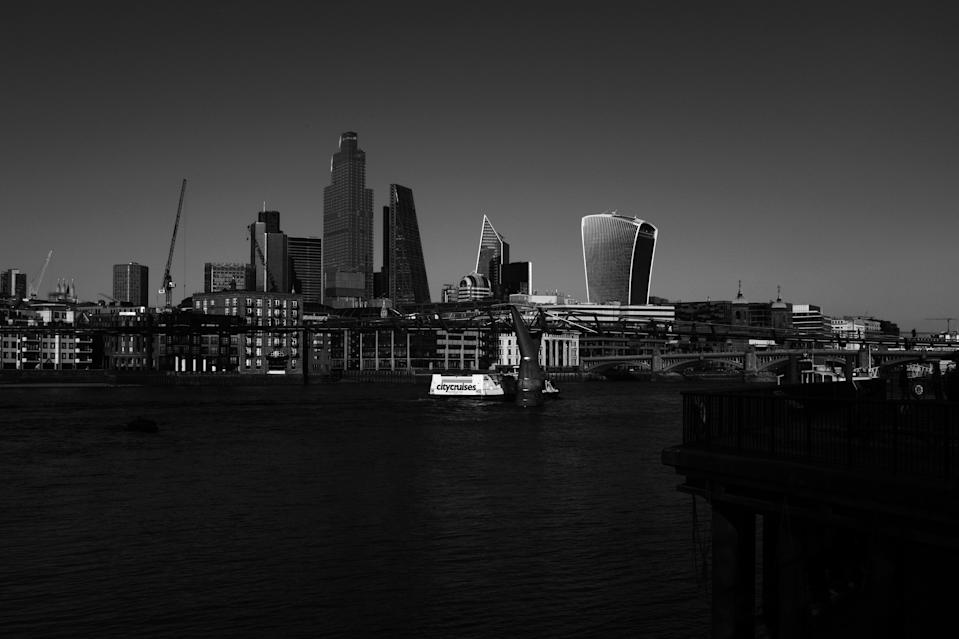 (EDITOR'S NOTE: image has been converted to black and white) General view of the south City of Londons Skyline on March 16, 2020 in London, England. Boris Johnson chaired a COBRA meeting this afternoon ahead of the first of daily televised public updates he is scheduled to give.  (Photo by Alberto Pezzali/NurPhoto via Getty Images)