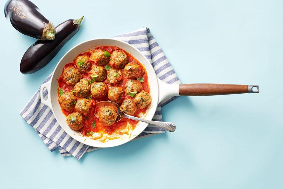 "<p>They look like meatballs, but this vegetarian recipe is actually made from the mighty eggplant.</p><p><a href=""https://www.womansday.com/food-recipes/a34993979/eggplant-parmesan-meatballs-recipe/"" rel=""nofollow noopener"" target=""_blank"" data-ylk=""slk:Get the recipe from Woman's Day »"" class=""link rapid-noclick-resp""><em>Get the recipe from Woman's Day »</em> </a></p>"