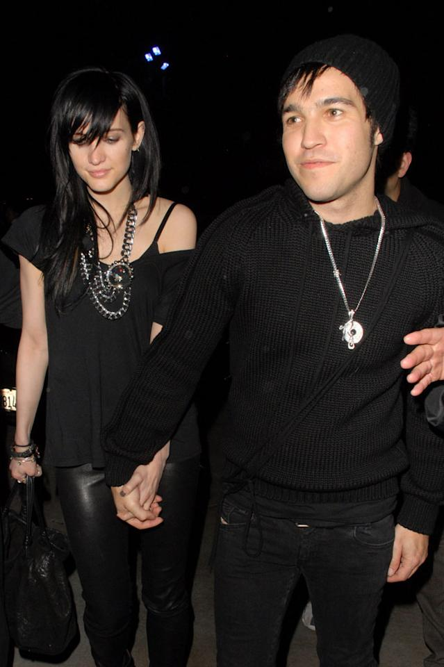 "Ashlee Simpson and Pete Wentz looked a tad goth in their dark ensembles, but we kinda dug their duds and their matching black manes. Adrian Varnedoe/<a href=""http://www.pacificcoastnews.com/"" target=""new"">PacificCoastNews.com</a> - March 26, 2010"