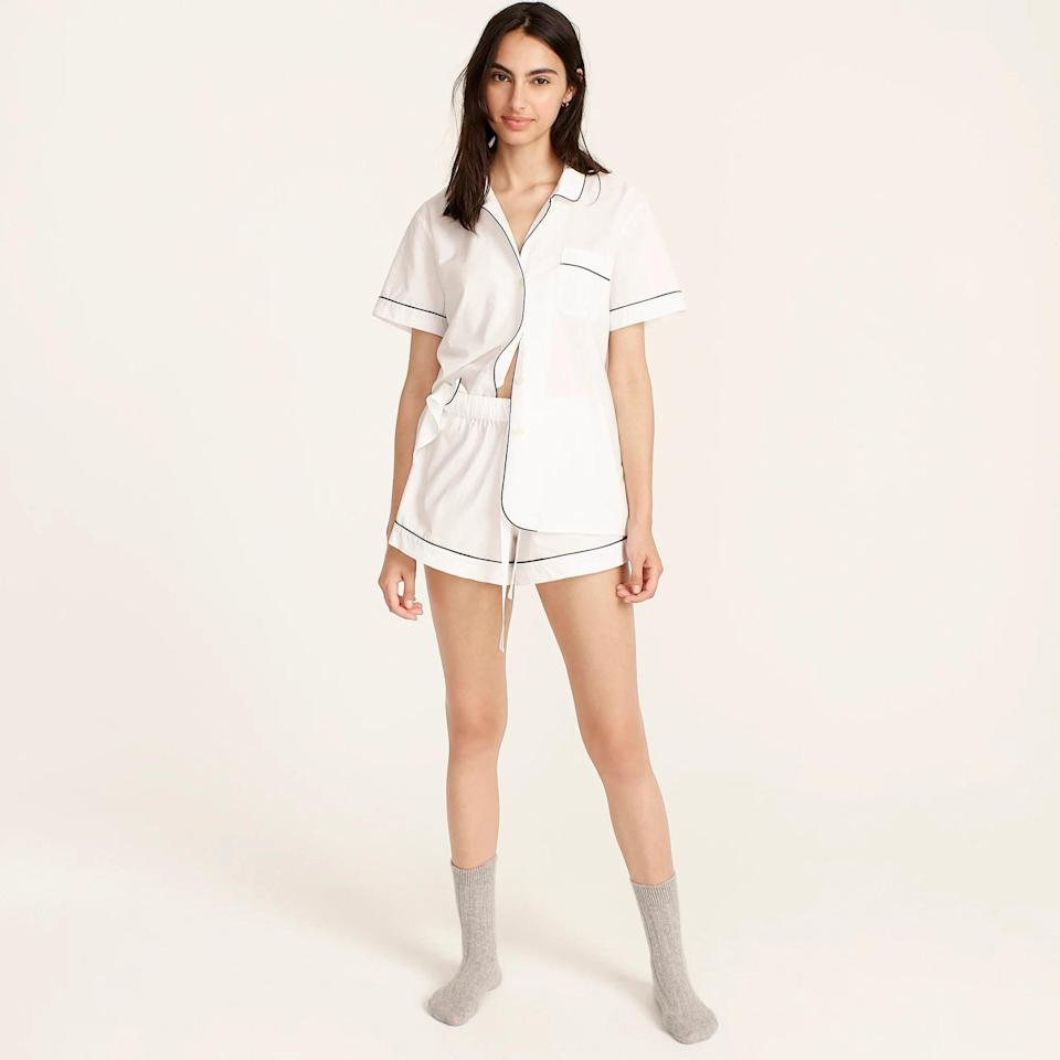 <p>If you sleep hot, you need cotton. This <span>J.Crew End-on-end Cotton Pajama Short Set</span> ($80) is breathable and lightweight.</p>