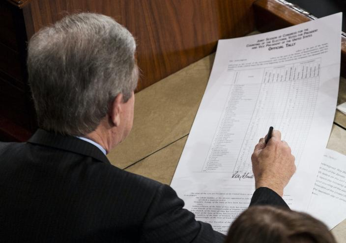 """<span class=""""caption"""">Missouri Republican Sen. Roy Blunt signs an official tally of the Electoral College votes from the 2016 presidential election, in January 2017.</span> <span class=""""attribution""""><a class=""""link rapid-noclick-resp"""" href=""""https://newsroom.ap.org/detail/ElectoralCollege/4fe51dbeb4d243dcb1e5a8508a9c27b3/photo"""" rel=""""nofollow noopener"""" target=""""_blank"""" data-ylk=""""slk:AP Photo/Zach Gibson"""">AP Photo/Zach Gibson</a></span>"""