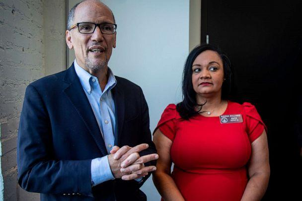 PHOTO: In this Nov. 20, 2019, file photo, Tom Perez, chair of the Democratic National Committee, and Nikema Williams, chair of the Georgia Democratic Party, speak with reporters, in Atlanta. (Ron Harris/AP, FILE)