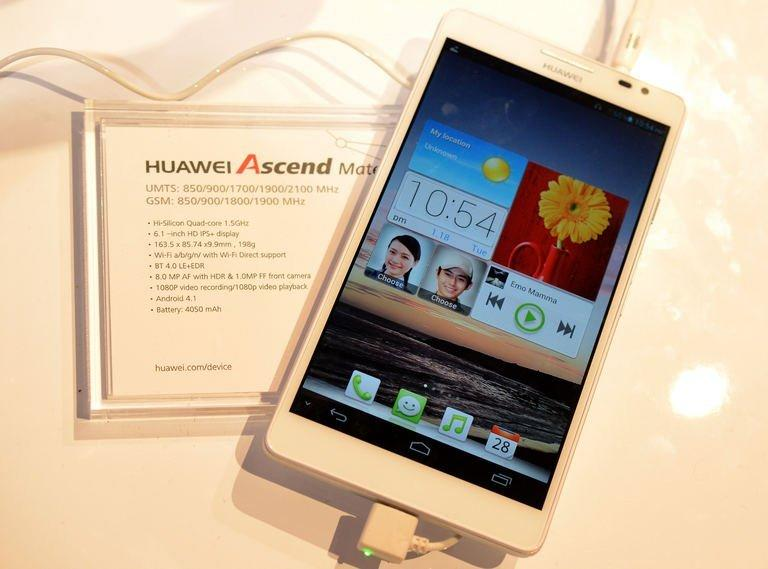 Huawei's Ascend Mate smartphone is seen at the Huawei booth during the 2013 International CES at the Las Vegas Convention Center on January 10, 2013 in Las Vegas. Dozens of firms at the International Consumer Electronics Show are touting the smartphone as consumer's remote control for life
