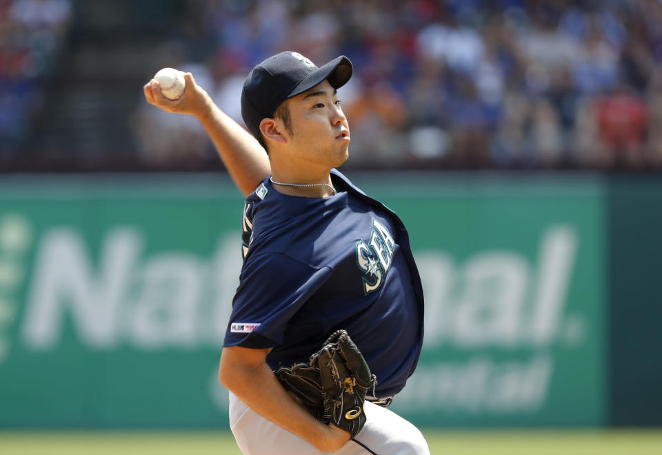 Seattle Mariners starting pitcher Yusei Kikuchi throws to the Texas Rangers in the first inning of a baseball game in Arlington, Texas, Sunday, Sept. 1, 2019. (AP Photo/Tony Gutierrez)