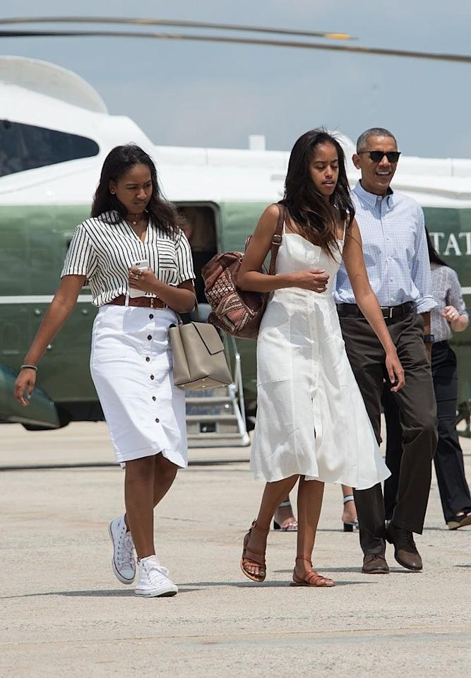 <p>The girls looked summery and all-American boarding Air Force One on the way to Martha's Vineyard.</p>