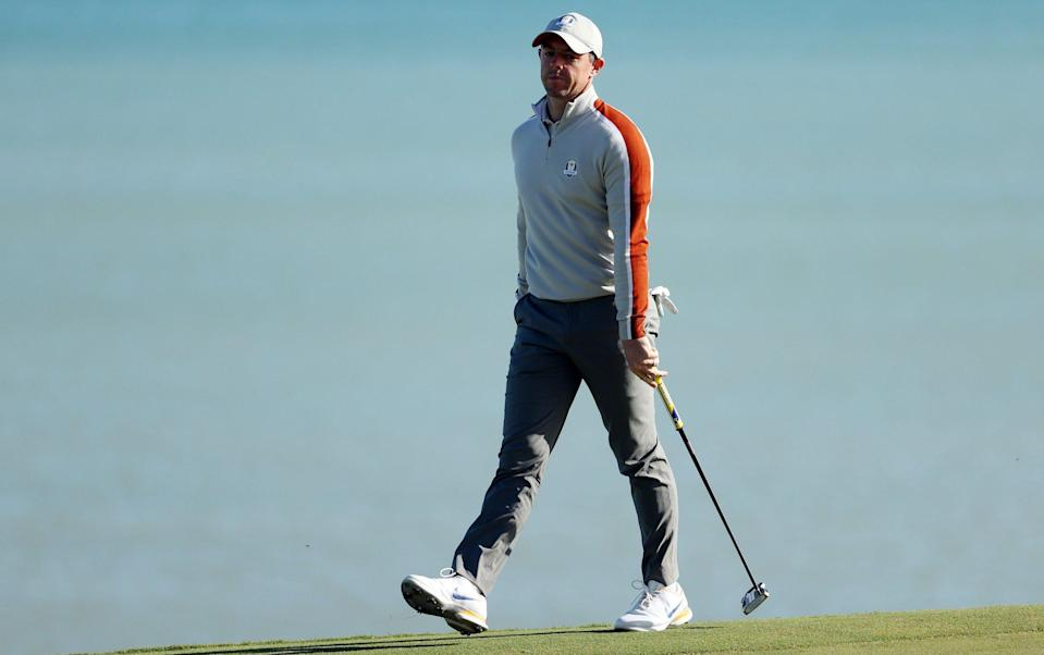 Rory McIlroy of Northern Ireland and team Europe reacts on the seventh green during Saturday Afternoon Fourball Matches of the 43rd Ryder Cup at Whistling Straits on September 25, 2021 in Kohler, Wisconsin. - GETTY IMAGES