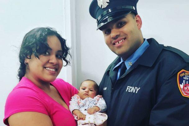 PHOTO: Lindsey and Jerel La Santa, an FDNY firefighter, hold their 5-month old child, Jay-Natalie, who died of coronavirus, in this undated photo. (Lindsey La Santa)