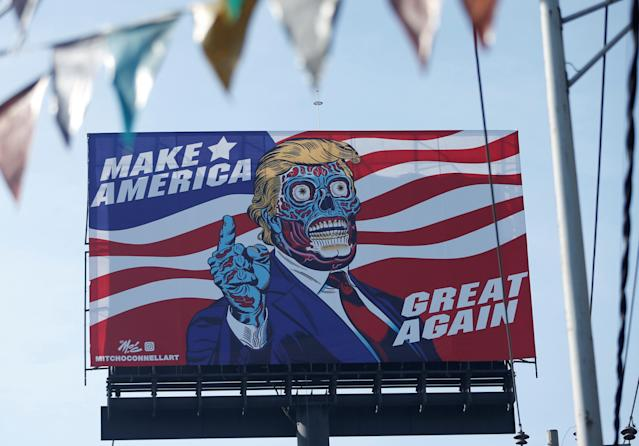 <p>A giant billboard shows a drawing depicting U.S. President Donald Trump, along Periferico avenue in Mexico City, Mexicom July 28, 2017. (Photo: Henry Romero/Reuters) </p>