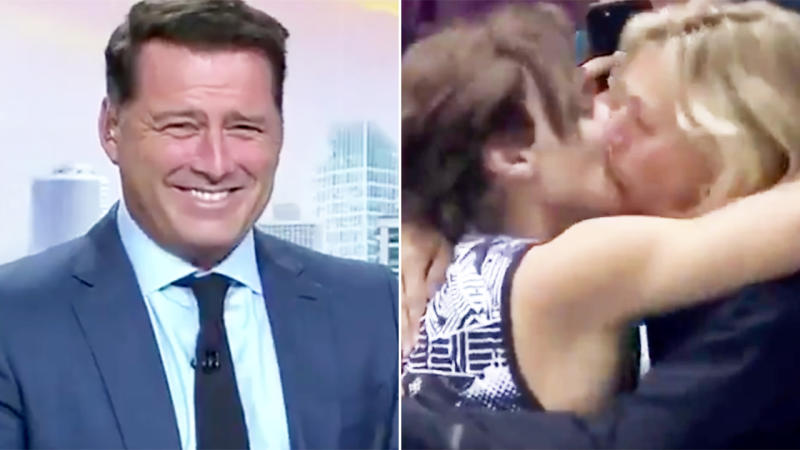 Karl Stefanovic, pictured here ridiculing Armand Duplantis for kissing his mother.