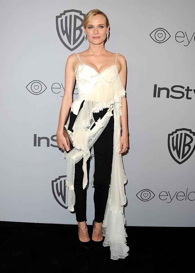 <p>Outfit swap! Diane Kruger changed her look for the InStyle and Warner Bros. party. (Photo: Jon Kopaloff/FilmMagic) </p>