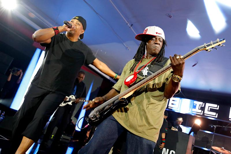 Rappers Chuck D (L) and Flavor Flav of Public Enemy perform onstage at SXSW on March 12, 2016 in Austin, Texas.
