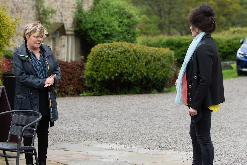FROM ITV  STRICT EMBARGO  Print media - No Use Before Tuesday 29th June 2021 Online Media - No Use Before 0700hrs  Tuesday 29th June 2021  Emmerdale - Ep 9091  Monday 5th July 2021  Brenda Hope [LESLEY DUNLOP] tries to talk some sense into Faith Dingle [SALLY DEXTER], but Faith struggles to hear it and tells Brenda to sort her own relationship out before getting on her high horse.   Picture contact David.crook@itv.com   This photograph is (C) ITV Plc and can only be reproduced for editorial purposes directly in connection with the programme or event mentioned above, or ITV plc. Once made available by ITV plc Picture Desk, this photograph can be reproduced once only up until the transmission [TX] date and no reproduction fee will be charged. Any subsequent usage may incur a fee. This photograph must not be manipulated [excluding basic cropping] in a manner which alters the visual appearance of the person photographed deemed detrimental or inappropriate by ITV plc Picture Desk. This photograph must not be syndicated to any other company, publication or website, or permanently archived, without the express written permission of ITV Picture Desk. Full Terms and conditions are available on  www.itv.com/presscentre/itvpictures/terms