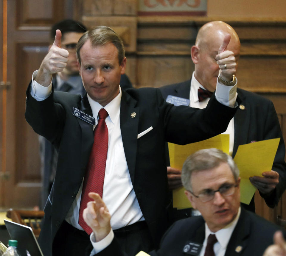 FILE - In this Thursday, March 7, 2019 file photo, State Sen. John Albers, a Roswell Republican, urges a yes vote to a bill in Atlanta. Albers was one of three Republican senators representing parts of Fulton County sent a letter to the State Election Board demanding a performance review that could lead to a state takeover of Fulton County elections (Bob Andres/Atlanta Journal-Constitution via AP, File)