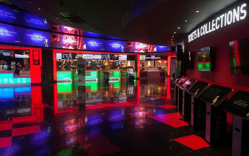 General view of an empty cinema foyer at Cineworld in Hemel Hempstead as the number of coronavirus cases grow around the world