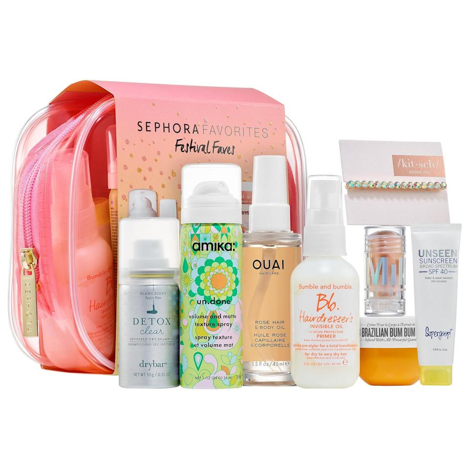 "<p>This <a href=""https://www.popsugar.com/buy/Sephora-Favorites-Must-Have-Minis-Kit-568869?p_name=Sephora%20Favorites%20Must%20Have%20Minis%20Kit&retailer=sephora.com&pid=568869&price=29&evar1=bella%3Aus&evar9=47425767&evar98=https%3A%2F%2Fwww.popsugar.com%2Fbeauty%2Fphoto-gallery%2F47425767%2Fimage%2F47425776%2FSephora-Favorites-Must-Have-Minis-Kit&prop13=mobile&pdata=1"" class=""link rapid-noclick-resp"" rel=""nofollow noopener"" target=""_blank"" data-ylk=""slk:Sephora Favorites Must Have Minis Kit"">Sephora Favorites Must Have Minis Kit</a> ($29) packs mostly haircare options (including Kitsch, Ouai, Amika, and more), but there are also products inside that can help skin stay safe, moisturized, and glowing after hair is done.</p>"