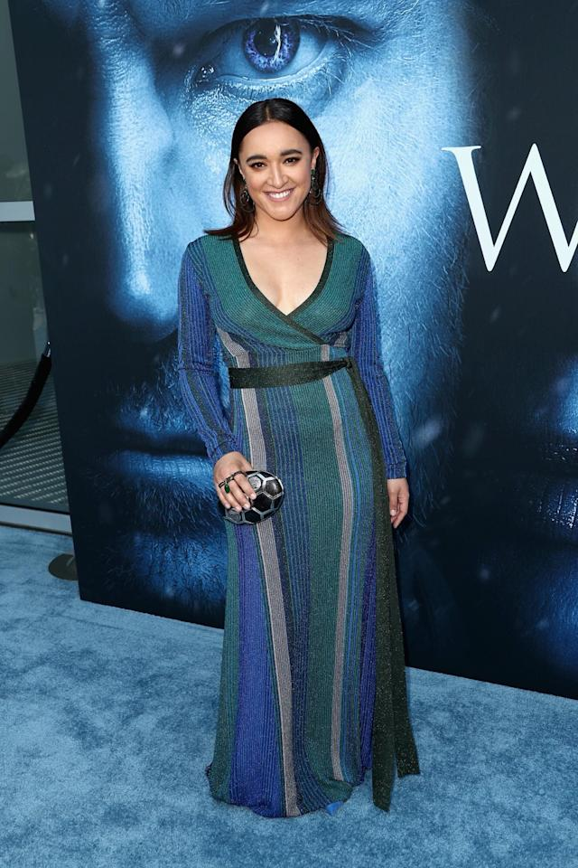 <p>One third of the Sand Snakes turned up to the premiere in a gorgeous stripy wrap dress. (Photo: Getty Images) </p>